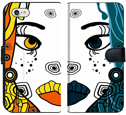 Liili Premium iPhone 8 Flip Micro Fabric Wallet Case Set of Two Vector Halloween Woman Cartoon Portraits Party Background for Text Image ID 11243777]()