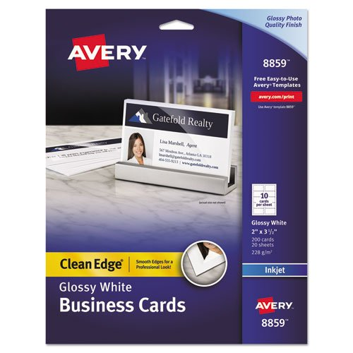 Two-Sided Clean Edge Business Cards, Inkjet, 2 x 3 1/2, Glossy White, 200/Pack, Sold as 200 Each
