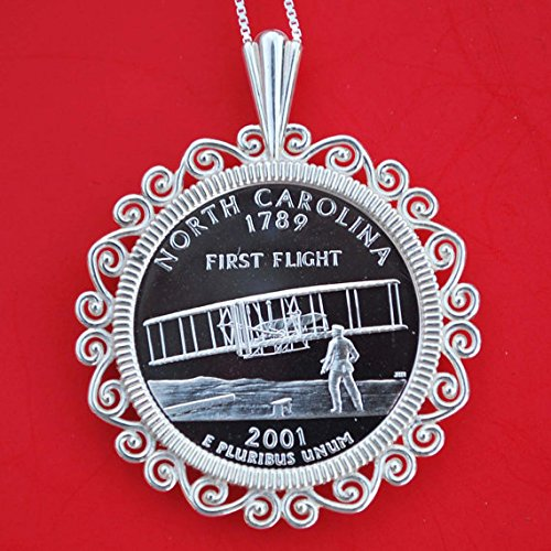 US 2001 North Carolina State Quarter 90% Silver Proof Coin Soild 925 Sterling Silver Necklace w. 20