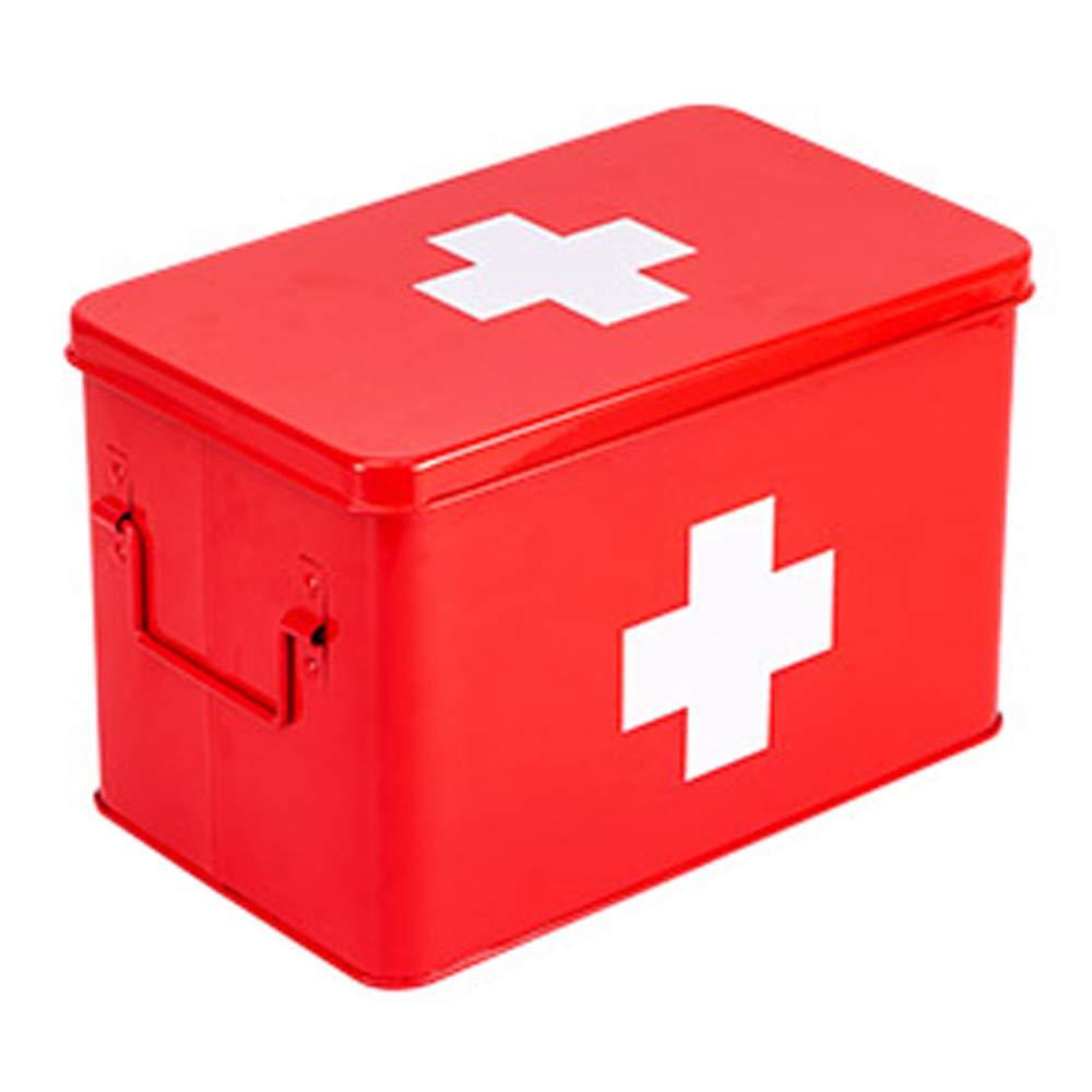 ドラッグ収納ボックス 医療ボックス亜鉛メッキシート材料、ポータブルポータブル防湿防塵二重層大容量、薬箱家庭用薬箱家庭用薬箱こども薬小薬箱赤ちゃん薬箱薬収納ボックスサイズ:31.5 cm X 19 cm X 20 cm   B07MWW5P4W