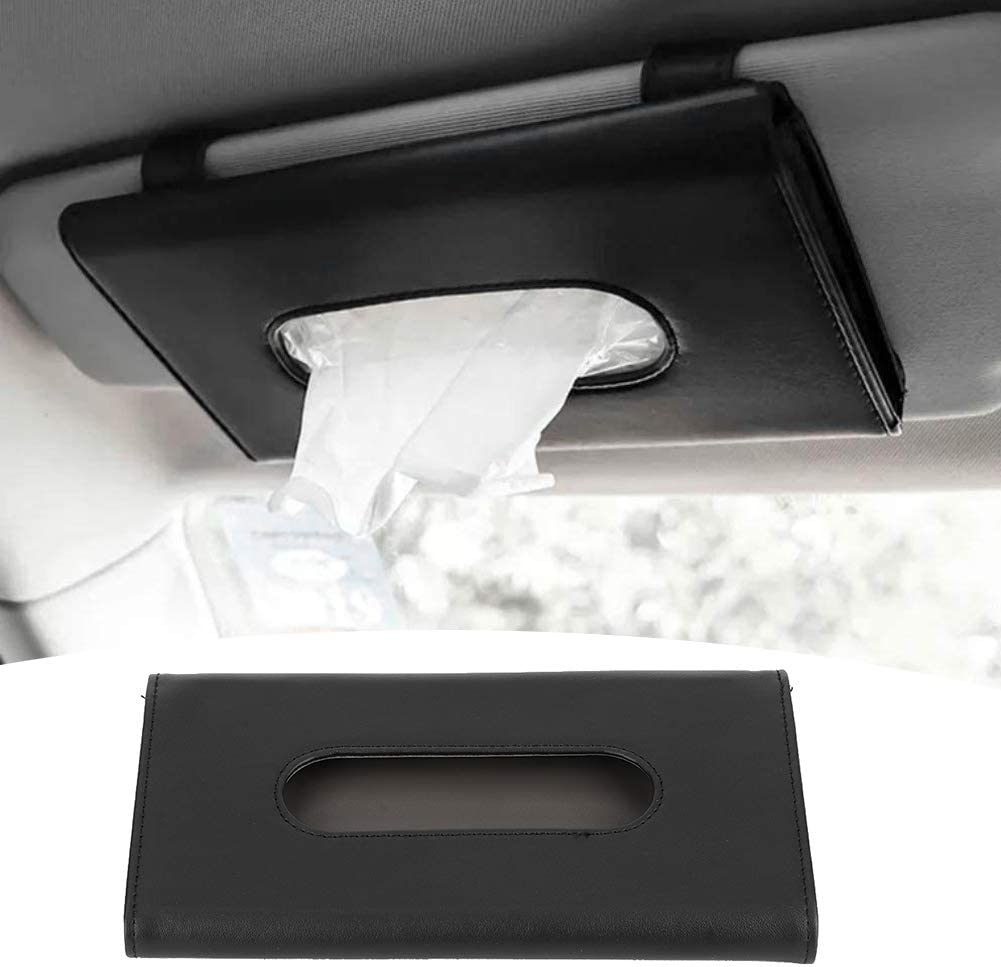 Acouto Car Napkin Holder Portable PU Leather Car Sun Visor Tissue Boxes Dispenser Napkin Paper Towel Holder Auto Napkin Clip Storage Pocket Car Visor Tissue Holder for SUV Truck