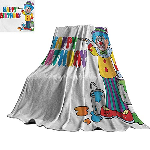 RenteriaDecor Kids Birthday,Bed Blankets Happy Clown for Party with Colorful Painting Drawing Style Buckets Print Blanket for Bed Couch 70