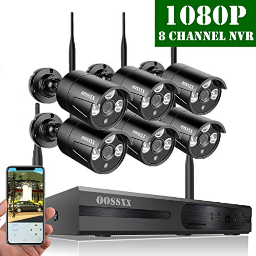 (【2019 Update】 OOSSXX HD 1080P 8-Channel Wireless Security Camera System,6 pcs 1080P 2.0 Megapixel Wireless Weatherproof Bullet IP Cameras,Plug Play,70FT Night Vision,P2P,App, No Hard Drive)
