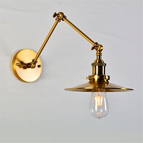Bronze Double Arm Sconce - Wall lamp Bracket Light Sconces American Vintage Double-Length Long-arm Personality Creative Double-Section high-Grade Bronze Restaurant Bedside Telescopic Decoration