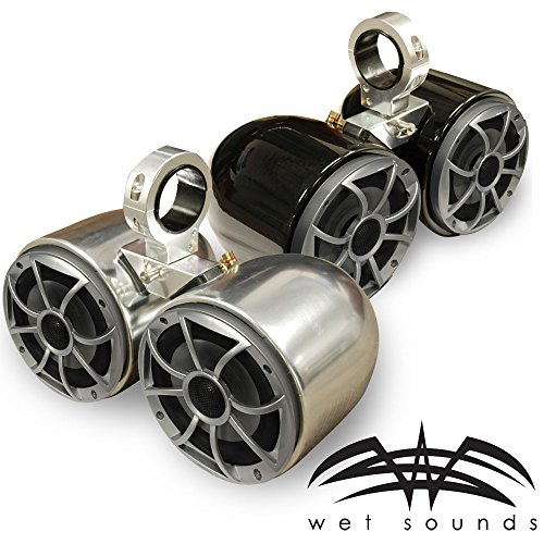 Wet Sounds Double Barrel Wakeboard Tower Speakers - Universal Insert - Powder Coated Black - PAIR