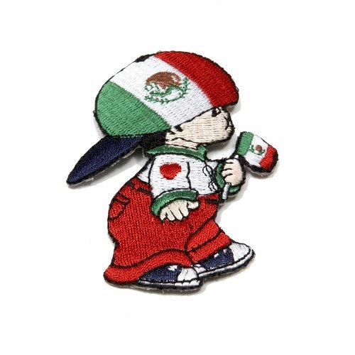 43e16a9c2b5f6 Mexico Little Boy Country Flag Embroidered Iron on Patch Crest Badge ... 3  X 2 Inch .. New