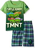 Nickelodeon Toddler Boys' 2 Piece Teenage Mutant Ninja Turtles Tee and Plaid Short Set, Green, 2t