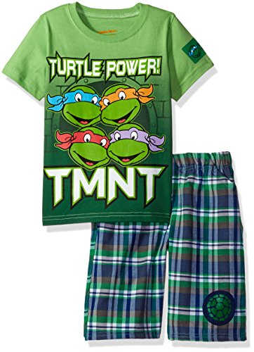 Nickelodeon Little Boys' 2 Piece Teenage Mutant Ninja Turtles Tee and Plaid Short Set, Green, 5 (Tmnt Outfit)