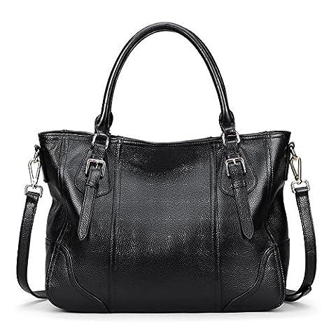AINIMOER Women's Vintage Genuine Leather Shoulder Bag Unisex Big Capacity Handbags Tote Top-handle - Unisex Black Leather