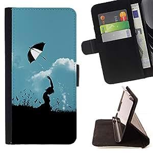 For Samsung ALPHA G850 Case , Naturaleza Paraguas Campo- la tarjeta de Crédito Slots PU Funda de cuero Monedero caso cubierta de piel