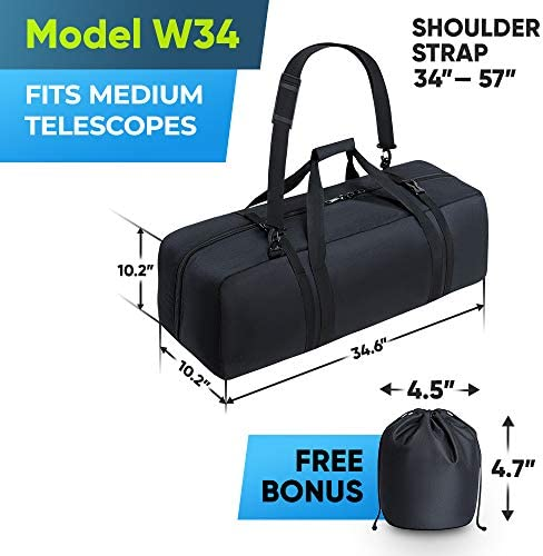 BagMate Multipurpose Telescope Bag, 34.6x10.2x10.2 inch – Shock-Absorbent Telescope Carrying Case with Adjustable Shoulder Strap and Extra Storage – Water Repellent