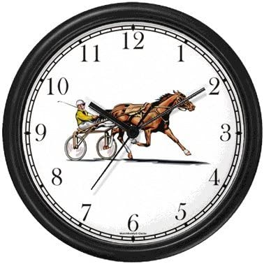 WatchBuddy Harness Horse or Sulky Horse or Standardbred Sulky Buggy with Driver Racing Wall Clock Timepieces Black Frame