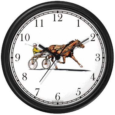 Harness Horse or Sulky Horse or Standardbred & Sulky (Buggy) with Driver Racing Wall Clock by WatchBuddy Timepieces (Black Frame)