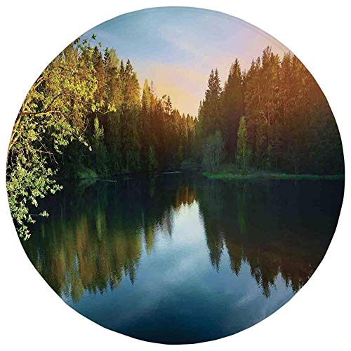 ip Doormat Lake House Decor,Modern Photo of Lake and Forest Landscape in Northern Island with Realistic Color Art,Green Blue,Flannel Microfiber Absorbent,for Kitchen Floor Bath ()