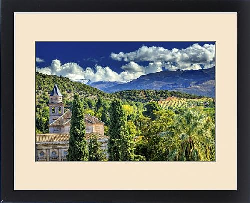Framed Print of Alhambra Church Castle Towers Farm Mountains Granada Andalusia Spain by Fine Art Storehouse