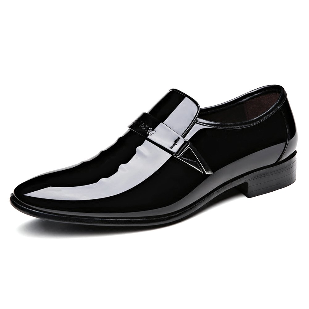 Seakee Men's Pointed-Toe Tuxedo Dress Shoes Casual Slip-on Loafer(Black) US 9