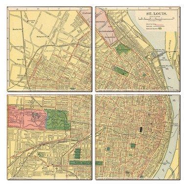 St. Louis Coaster of Vintage Map (Set of 4) ()