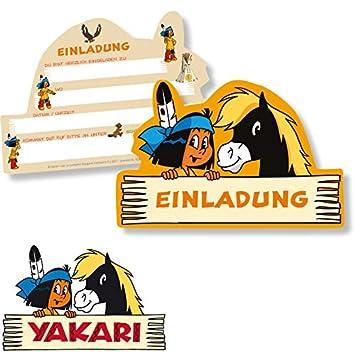 6 Einladungskarten * YAKARI * Für Kinderparty Und Kindergeburtstag Von  DH Konzept // Indianer