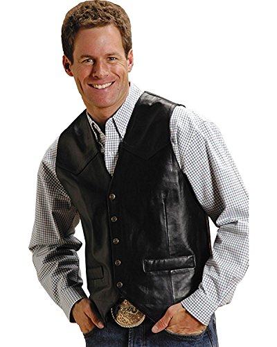 Roper Men's Lamb Skin Western Vest, Black LG ()