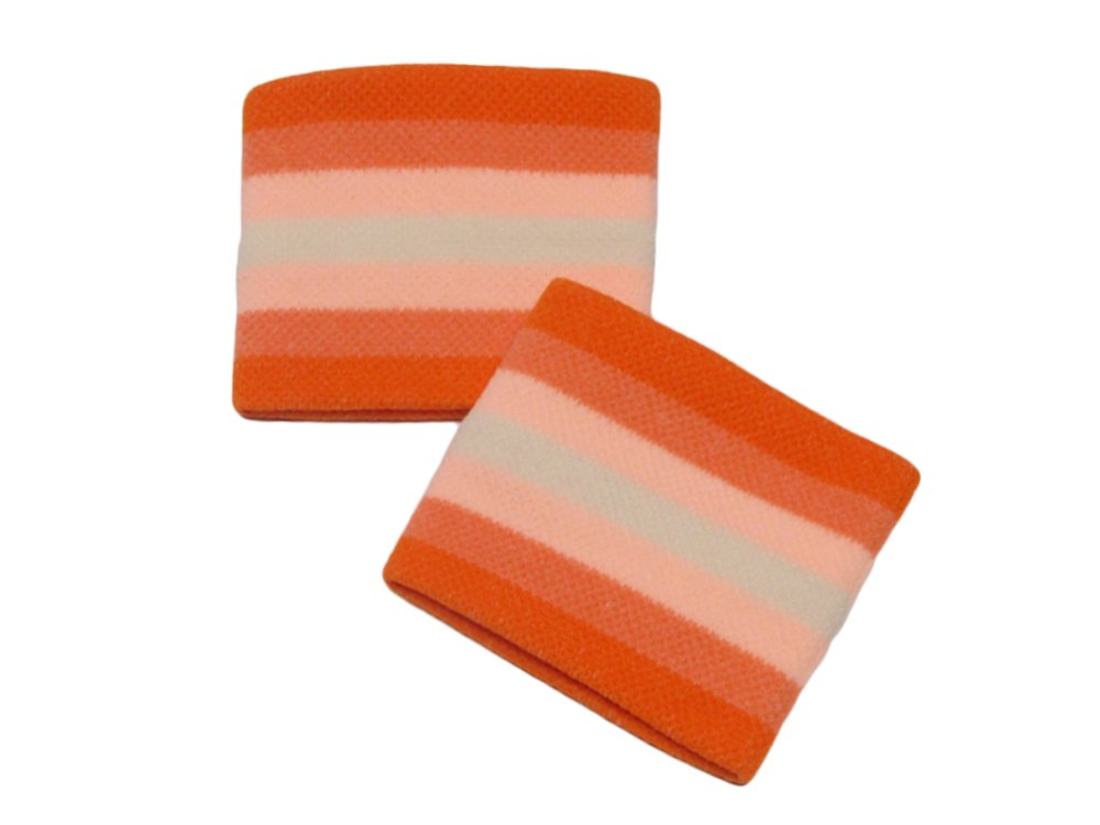COUVER Cute Girl 2.5'' Width x 2'' Length Wristband, Orange Striped(1 pair)