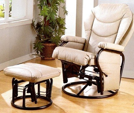 - Bone Leatherette Swivel Glider Rocker Ottoman