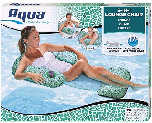 Aqua Mosaic 3-in-1 Lounge Chair, Multi-Purpose Inflatable (Chair, Drifter, Lounge) Pool Float, Aqua Green Mosaic