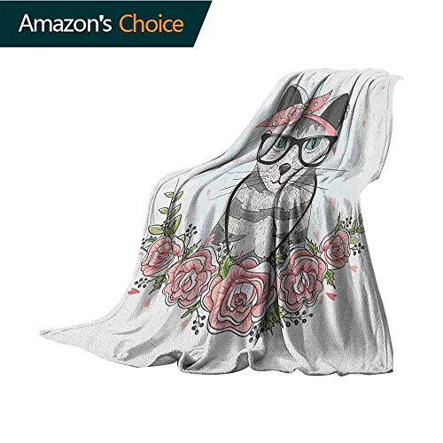 Custom Binding Rings - Kitten Outdoor Blanket,Hipster Cool Cat with Spectacles Scarf Necklace Earrings and Flowers Little Hearts Comfortable Soft Material  give You Great Sleep,30
