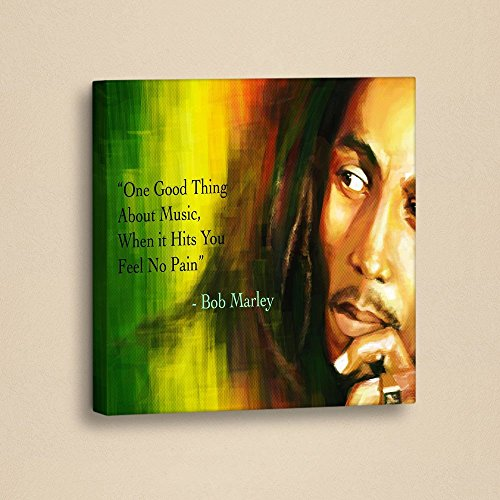 "LaModaHome Decorative Canvas Wall Art (13"" x 13"") Wooden Thick Frame Painting One Good Thing About Music When It Hits You Feel No Pain Bob Marley"