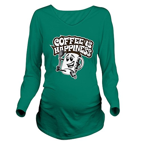 CafePress Coffee is Happiness Long Sleeve Maternity T-Shirt, Cute and Funny Pregnancy Tee (Happiness Maternity T-shirt)