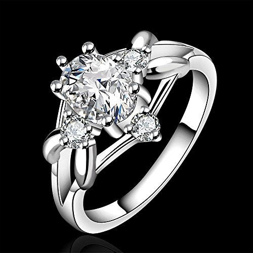 New 925 Silver Beautiful Clear Crystal Diamond Ring Engagement Wedding Ring Classic Design(Q)