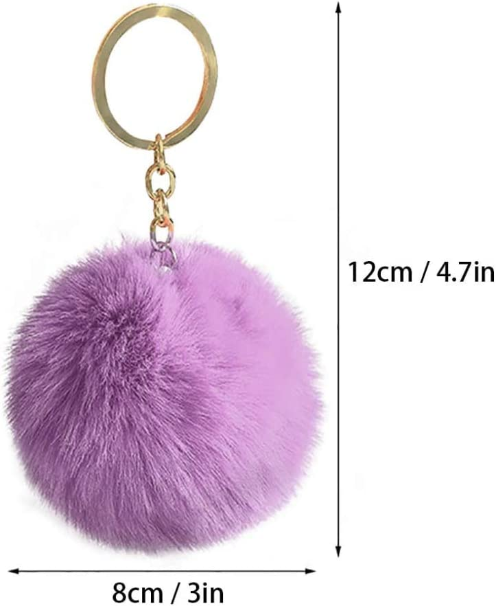 INNKER 16Pcs Large Fur Balls Faux Rabbit Fluffy Pom Pom Balls with Elastic Loop for DIY Knitting Hair Hats Scarves Gloves Keychains Bags Accessories