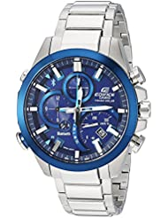 Casio Mens Edifice Solar Connected Quartz Stainless Steel Casual Watch, Color:Silver-Toned (Model: EQB-501DB...