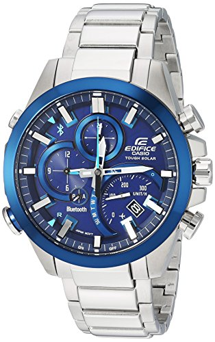 Casio Watch Fashion Edifice (Casio Men's 'Edifice Solar Connected' Quartz Stainless Steel Casual Watch, Color:Silver-Toned (Model: EQB-501DB-2ACF))