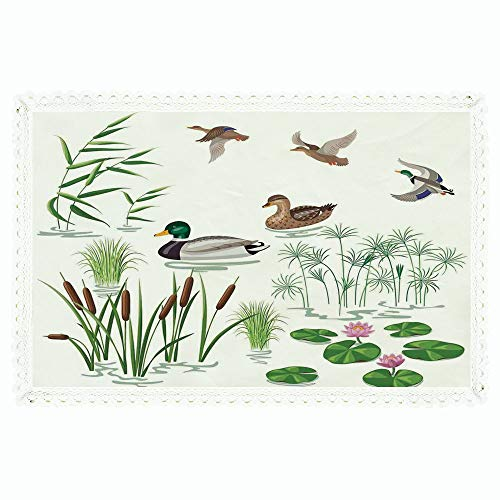 Duck,Rectangle Polyester Linen Tablecloth/Lake Animals and Plants with Lily Flowers Reeds Cane in The Pond Nature Park Print/for Dinner Kitchen Home Décor,60