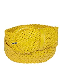 CTM® Women's 2 Inch Wide Adjustable Braided Belt, Medium, Yellow
