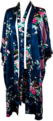 CC Collections Kimono 16 Colours Premium Version Free 1st Class UK Shipping Dressing Gown Robe Lingerie Night wear Dress Bridesmaid Hen Night (Blue Navy)]()