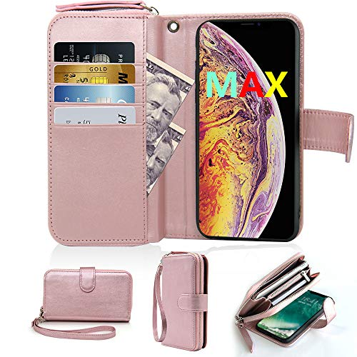 iPhone Xs Max Wallet Case with Card Slot Holder, Detachable Wrist Wtrap Leather Zipper Wallet Flip Magnetic Closure Handbag Case for iPhone Xs Max, 6.5 inch, Rose Gold