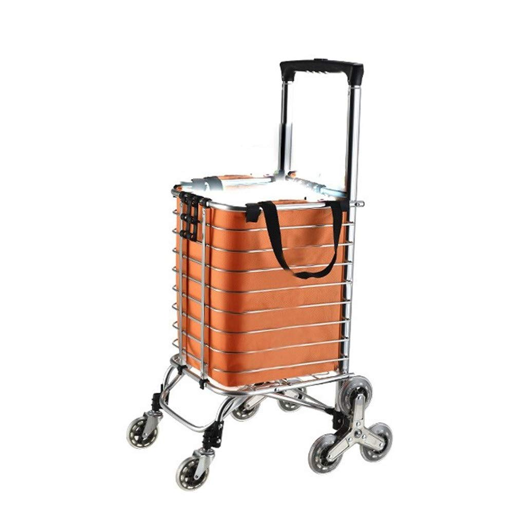 Bmwjrzd Foldable Shopping Trolley - Multi-Functional - Lightweight - Adjustable Luggage Grocery Cart - Orange Cloth Bag