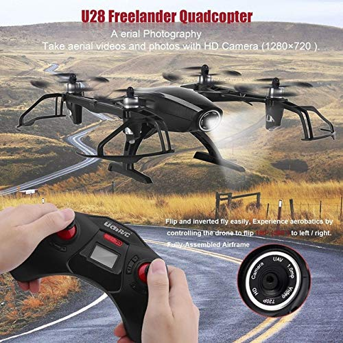 DishyKooker Remote Control Helicopter Quadcopter with Black HD Camera 6 Axle Gyro 2MP 1280720 Freelander Quadcopter for U28 RC Drone Hobby Black
