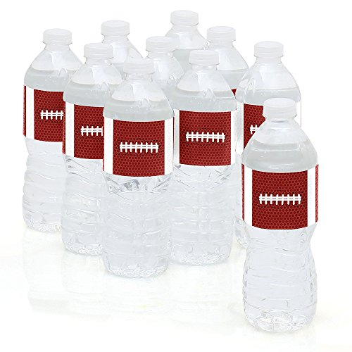 End Zone - Football - Baby Shower or Birthday Party Water Bottle Sticker Labels - Set of 10 -