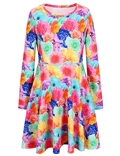 Jxstar girls size 6 girls age 6 girls 7-16 size 7 dresses halloween costume AM70927 130 Floral Fall 6-7Years Height 48in