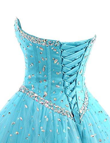 Herz Schulter kleider Langes Abendkleid Auschnitt Quinceanera Ballkleid Aiyana Ab Turkis Perlen w1qEEF