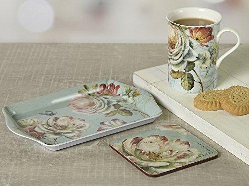 ROMANTIC GARDEN Time For Tea MUG Coaster & TRAY Shabby Chic GIFT SET New