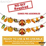 Give Thanks Garland for Thanksgiving Decorations - Pre-Assembled, No DIY | Pack of 2 | Happy Thanksgiving Banner | Turkey Pumkin Chicken Maple Leaves fire Cherry Corn Garland | Fall Decorations: more info