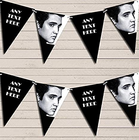Black & White Elvis Presley Birthday Bunting Garland Party Venue Decoration Party Flag Banner Garland The Card Zoo