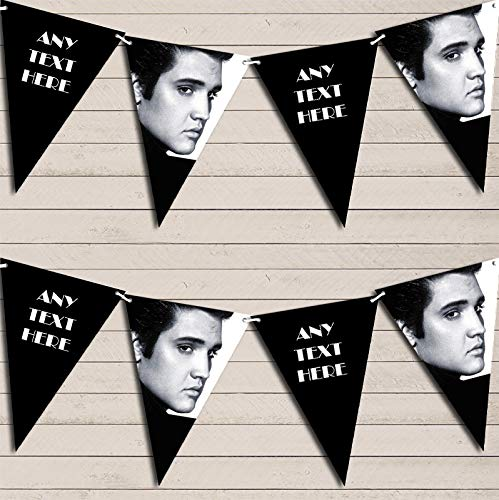 Black & White Elvis Presley Birthday Bunting Garland Party Venue Decoration Party Flag Banner Garland