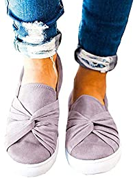 Women's Loafers Slip On Flatform Top Ruched Knot Fashion Sneaker