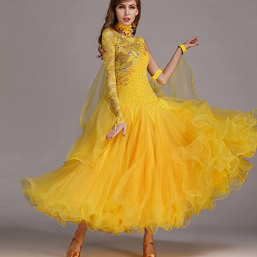 Il Wqwlf Costume Asimmetriche Grande Ballroom Donna Moderna Per Maniche Pizzo Xl Dance Abbigliamento Tango Lunghe Danza Abiti l Di Valzer 6 Swing PFPn8r0q