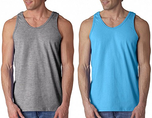Mens+Tank+Tops Products : Casual Basic Men's 100% Pre-Shrunk Cotton Workout Muscle Tank Tops - 2 Pack Deal