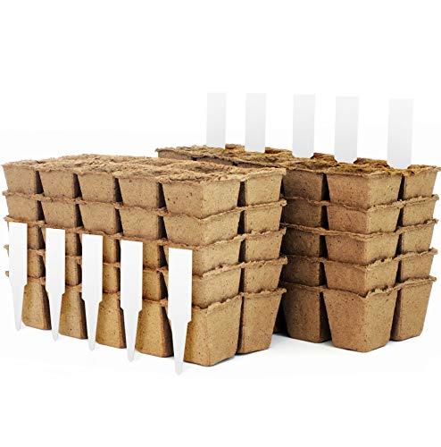 Peat Pot Seedling Starter Trays Seed Germination Kit – Organic Biodegradable Pots 100 Eco-Friendly Enhance Aeration BONUS 10 Plastic Plant Markers – 100 Cell Pack
